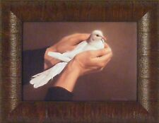 HOLDING PEACE by Nancy Howe 10x13 FRAMED PRINT Inspirational White Dove Bird