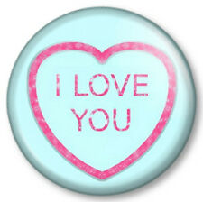 "I LOVE YOU Heart sweet 25mm 1"" Pin Button Badge Cute Valentine Novelty Kitsch"