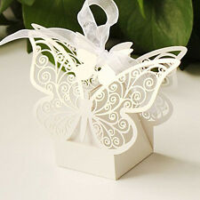 50pc Paper Butterfly Wedding Cake Candy Box Party Favor Ribbon Baby Shower Gifts