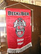 Vintage Becks Bier Red Satin Beer Banner on Rod with Fringe in good condition