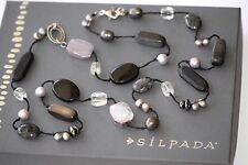 Silpada Downtown Black Hematite Chalcedony Sterling Silver Bead Necklace N1796