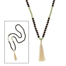"""34"""" Wooden and Green Beaded Necklace w Tassle"""