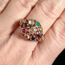 14k Yellow Gold Diamond Ruby Multi Gemstone Thai Antique Wedding Harem Ring 8.5