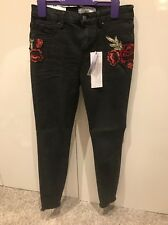 New Look Black Rose Embroidered Skinny Jeans  new UK size 8