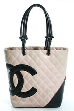Chanel Pink Black Leather Quilted Logo Front Cambio Tote Handbag