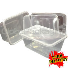 100 x PLASTIC 1000ml MICROWAVE FOOD TAKEAWAY CONTAINERS WITH LIDS - FOOD SAFE