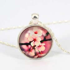 Silver Plated Vintage Flower Pattern Pendant Glass Dome Cabochon Charm Necklace
