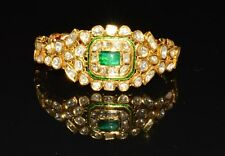 ESTATE ENAMEL 22K SOLID GOLD EMERALD DIAMOND CUFF BANGLE CHAIN BRACELET KADA