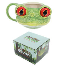 Jungle explorer green tree frog head shaped mug céramique en boîte cadeau