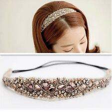 1Pc Headwear Girl Elastic Crystal Beads Lace Hair Headbands Wedding Jewelry