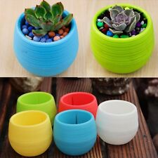 Cute Round Home Garden Office Decor Planter Plastic Plant Flower Pots Blue