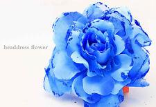 New 1pcs Big Rose Flower Glitter Headdres Flower Brooch Hairband navy blue