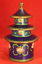 Antique Chinese Cloisonne Enamel PAGODA 4 Piece Stacking Trinket Box - 5½ Inches