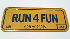 Vintage Cereal Metal Bicycle License Plate January 1983 Oregon RUN 4 FUN running