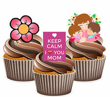 Keep Calm I Love You Mom Mix - 12 Edible Cup Cake Toppers Mother's Day Birthday