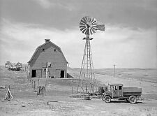 "Rustic Photo of an old Dakota Farm, 24x18"", windmill, Antique truck,  Americana"