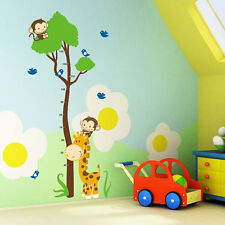 Monkey Birds Tree Removable Height Measure Wall Stickers For Kids Room Decor