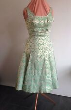 VINTAGE ORIGINAL 50s/60s COCKTAIL DRESS  FREDERICA STARKE of LONDON - GREEN/GOLD