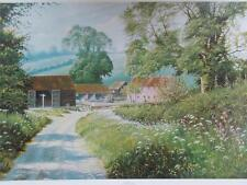 "Vtg Print Oil Painting ""THE FARM LANE"" by HJ Squires Agricultural Farming Scene"