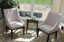 SET OF 2 Modern BEIGE Arm Slipper Dining Sofa Chair Accent Living Room Furniture