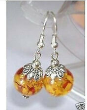 Tibet Style Jewelry Beautiful Tiebtan Silver amber Earrings AA128