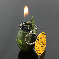 Mini Grenade Green Refillable Butane Gas Flame Fire Cigarette Smoke Lighter