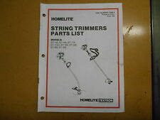 Homelite String Trimmers Parts List 17968-A