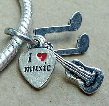 I Love Music Heart Guitar Music Note Triple Pendant European Dangle Bead Charm