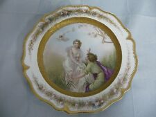 LOVELY ANTIQUE WEDGWOOD ETRURIA ENGLAND HAND PAINTED ROMANTIC PLATE w/GILT TRIM