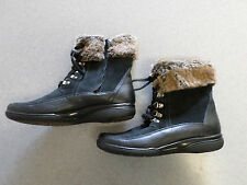 Clarks black leather and suede, fur lined ankle boots, Women's 10