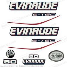 Evinrude 50hp E-Tec Blue Cowl Outboard Decals- 2004 2005 2006 2007 2008 Stickers