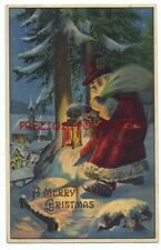 Unusual SANTA w/ ALPINE HAT - A LANTERN Lights the Way 1910 LANGSDORF CHRISTMAS