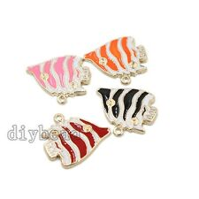 10x Mixed Color Enamel Alloy Gold Plated Stripe Fish Charms Pendant Cute Craft D