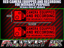 CAMERA EQUIPPED & RECORDING STICKERS X2 decal dvr car van bike truck bus RED