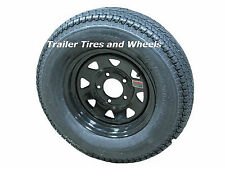"*2* 205/75D15 LRC ET Bias Trailer Tires on 15"" 5 Lug Black Spoke Wheels F78-15"