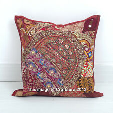 "Brown 16"" Cushion Pillow Cover Handmade Patchwork Embroidered Throw Indian Decor"