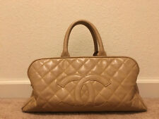 EUC100%Auth Chanel Beige Tan Camel Bowling Boston Caviar Doctor Tote Bag handbag