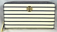 TORY BURCH ROBINSON PRINTED  STRIPE ZIP CONTINENTAL NAVY WALLET