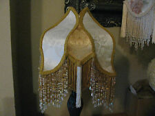 "Victorian French Med TULIP Lamp Shade ""Cream/ Gold"" Fringe And 6"" Beads"