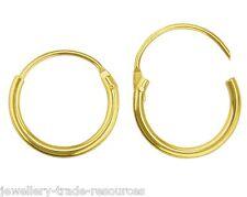 1x par 15mm Oro Amarillo 9ct Pendientes Redondos con bisagras Hoop durmiente