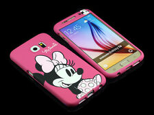 for Samsung Galaxy S6 Disney Minnie Mouse Front + back Case cover Defender Pink