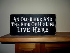 Biker Lives Here Ride of His Life Motorcycle Man Husband Sign Gift Harley lover