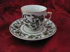 Kutahya Porselen demitasse cup saucer Turkey pink green yellow floral gold rims
