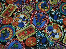 3 Yards Quilt Cotton Fabric - ITB Not So Spooky Halloween Patch on Black