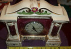 VINTAGE PORCELAIN MANTLE CLOCK BEAUTIDFUL CHANGED OVER TO ELECTRIC WORKS