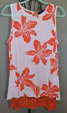 KAREN KANE White Orange Lily Tank Top Tunic Crochet Lace Back Floral NWT Large