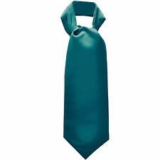 New Men's 100% Polyester solid full Ascot Cravat Only Wedding Prom Sapphire Blue