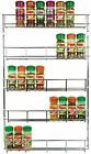 5 TIER SPICE RACK BACK OF DOOR CUPBOARD WALL MOUNTED CHROME JAR HOLDER KITCHEN