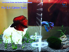 "5.5 Gallon 7.4""x9.2"" Tank Aquarium Acrylic Divider With Holes 4 Suction Cup Clip"