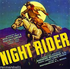La Feria Laredo Texas Night Rider Cowboy Orange Citrus Fruit Crate Label Print